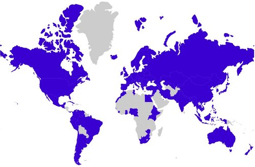 Image of world map showing alumni's home countries